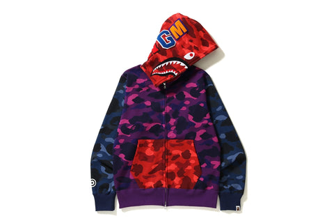 COLOR CAMO CRAZY SHARK FULL ZIP HOODIE