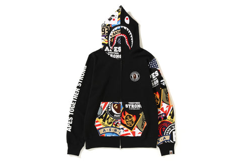 PATCHED SHARK FULL ZIP HOODIE