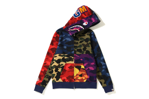 MIX CAMO CRAZY SHARK FULL ZIP HOODIE