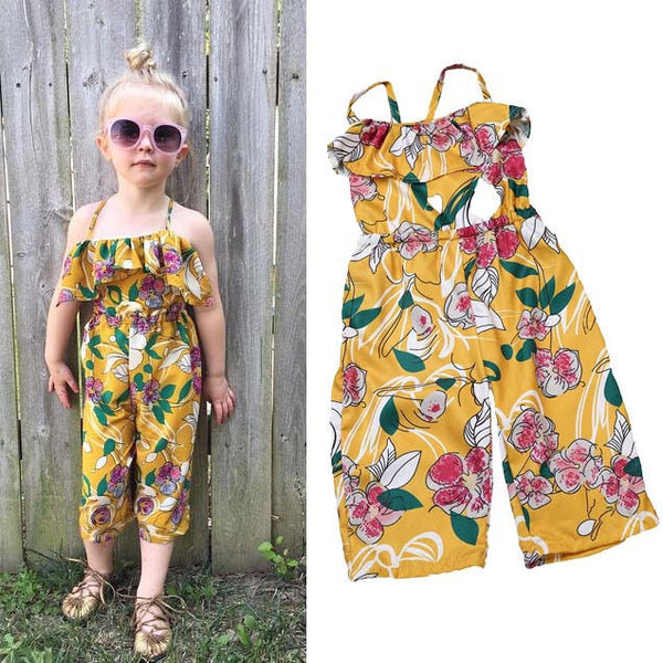b2caaa52c5bf Baby Girl s Floral Romper Jumpsuit Sleeveless Outfit 2-7T