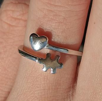 Love Autism Awareness Ring - 925 Sterling Silver