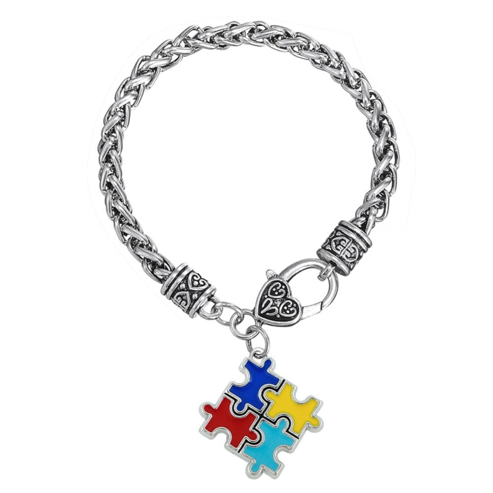 image product jewelry diy products autism crystal rhodium multicolored charms piece pendant pu shape puzzle awareness jigsaw bracelet my