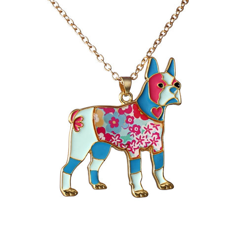 Bulldog Enamel Necklace