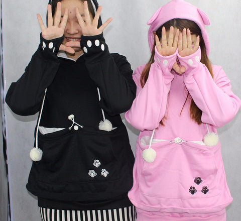 Cat Lovers Hoodies with ears and Cuddle Pouch
