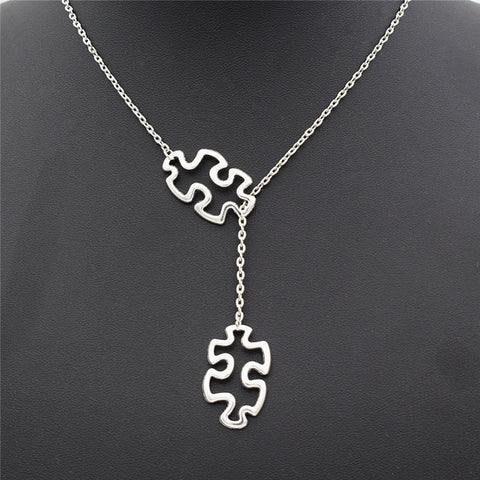 Autism Puzzle Pieces Silver Necklace