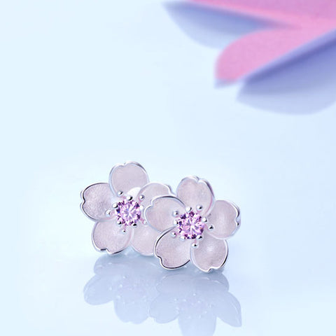 925 Sterling Silver Zirconia Cherry Flower Earrings