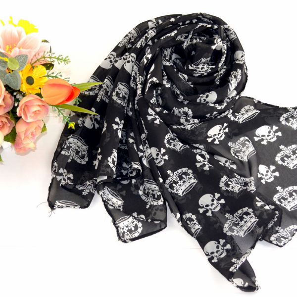 Hot Fashionable Black & White Skull Scarf