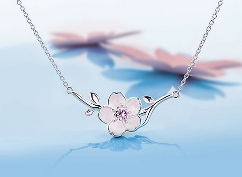 925 Sterling Silver Zirconia Cherry Blossom Flower Pendant Necklace