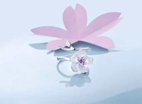 925 Sterling Silver Zirconia Cherry Blossom Flower Ring