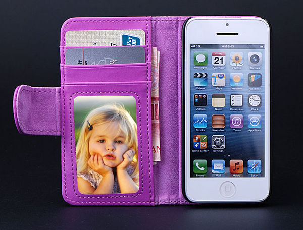 Luxury Protective PU leather Wallet for iPhone 5C