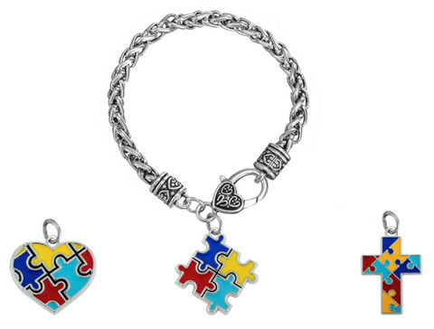 Autism Awareness Puzzle Pieces Charms Silver Plated Bracelet