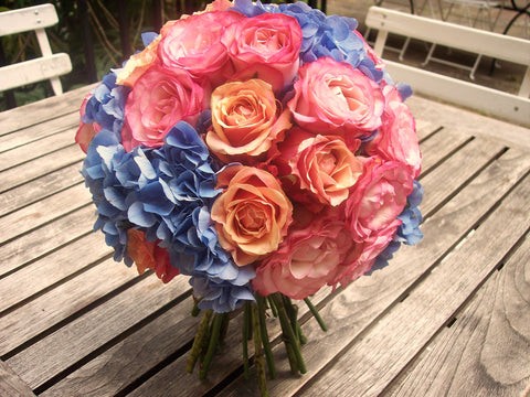 Blue Hydrangea & Orange Rose