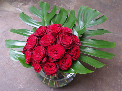 Valentines Day Red Rose Dome with Large Leaves