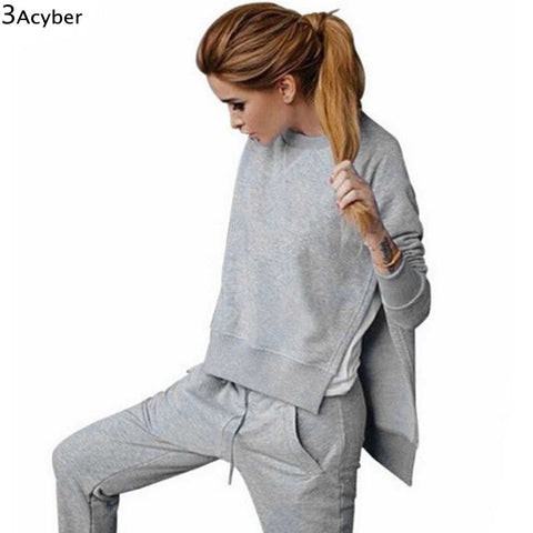Tracksuits Women Solid Irregular Long Sleeve Autumn Winter Sweatshirts Tops+Pants Suit Tracksuits For Women Sportwear Set