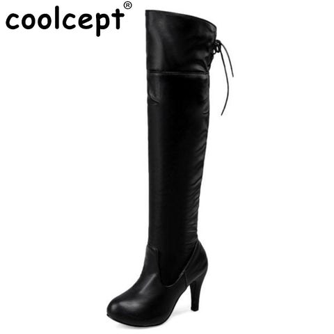 Thigh High Boots Sexy Fashion Elastic Bootie Chunky Thin Heels Over The Knee Bootines Mujer Size 34-43