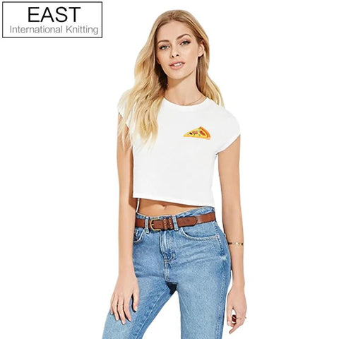 EAST KNITTING H761 Latest  Summer Short T Shirt Women Simple White Tops  Pizza Printed T-shirt Plus Size Funny T Shirts