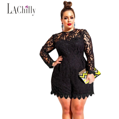New sexy Lace jumpsuit women Plus Size Long Sleeve Lace Romper LC60599 sexy jumpsuit macacao feminino coveralls