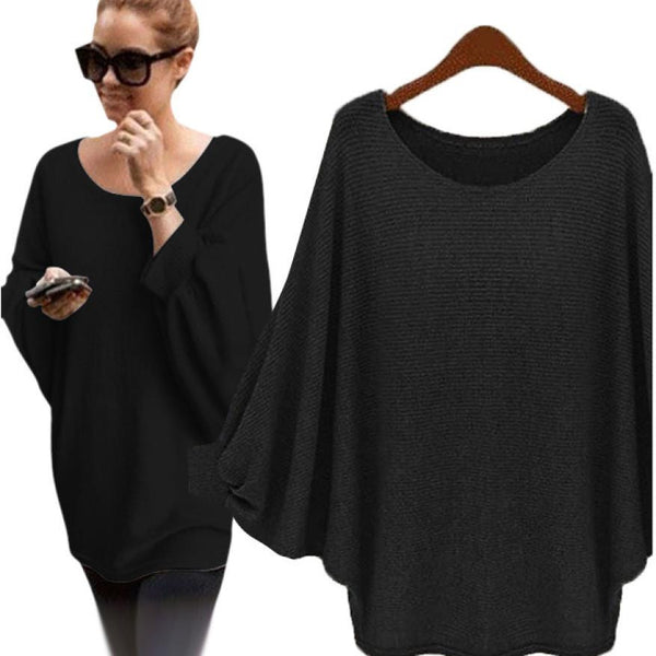 Autumn winter Women Sweater retro batwing sleeve Knitted Pullover Loose Oversized Elegant loose O neck sweaters - Kristen Kim