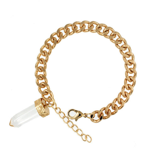 Fashion Natural Quartz Crystal Stone Charm Pendant Bracelet & Bangles For Women  Exaggerated Gold Chain Bracelet