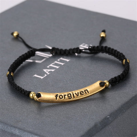 New Fashion Forgiven Lettering Hand-Woven Bracelets 18k Gold Plated Copper beads Bracelet Wholesale