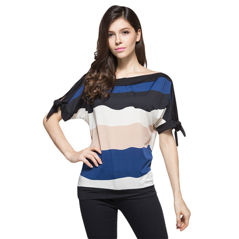 Hot Sale Women Summer T-shirt Fashion Batwing Sleeve Tops O-neck Loose Plus Size Shirt  Spell Color Stripe Female Tshirt
