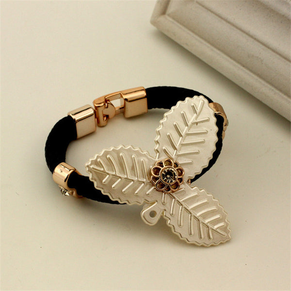 European New Fashion Weave Bracelet  Exquisite Leaf Shape Design Bracelet Jewelry 4 Color - Kristen Kim