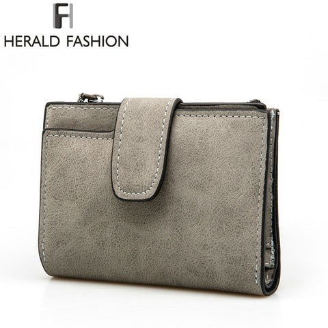 Herald Fashion Lady Letter Zipper Short Clutch Wallet Solid Vintage Matte Women Wallet Fashion Small Female Purse Short Purse - Kristen Kim