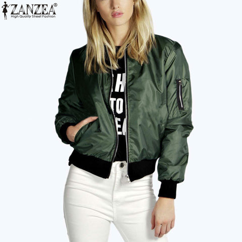 Zanzea  Fashion Women Solid Celeb Bomber Long Sleeve Thin Jacket Coat Casual Stand Collar Slim Short Outerwear Plus Size