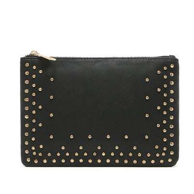 new fashion joker envelope black rivet bags hotsale ladies cell phone coin purses women's small evening clutch