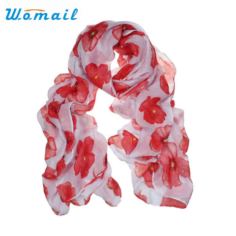 Womail Newly Design Fashion Red Poppy Scarf Print Long Scarves Flower Beach Wrap Ladies Stole Shawl