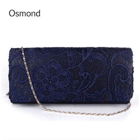 Bridal Wedding Lady Satin Evening Bags Lace Floral Clutches Women Messenger Shoulder Bag Pouch Purse Party Girl Handbags