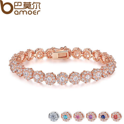 7 Colors  Rose Gold Color Chain Link Bracelet for Women Ladies Shining AAA Cubic Zircon Crystal Jewelry Gift