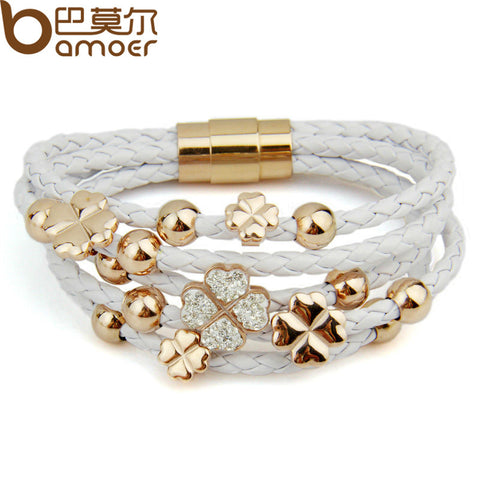 Hot Sell Leather  Rose Gold Color Bracelet for Women Four Leaf Clover Crystal Charm Jewelry