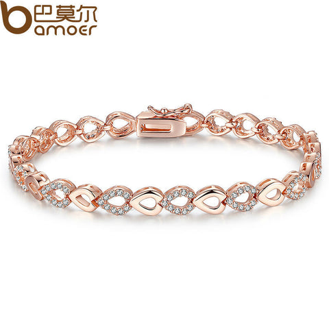 Exquisite Rose Gold Color Heart Chain Link Bracelet for Women Shining AAA Cubic Zircon Crystal Jewelry