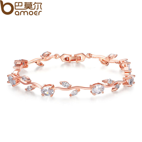Rose Gold Color Leaf Chain & Link Bracelet with Clear AAA Zircon for Mother Gifts Jewelry