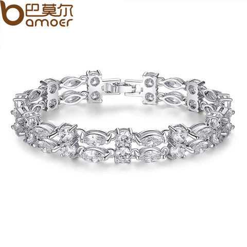 Luxury Silver Color Chain Link Bracelet for Women With AAA Zircon Crystal Fashion Jewelry Christmas Gifts