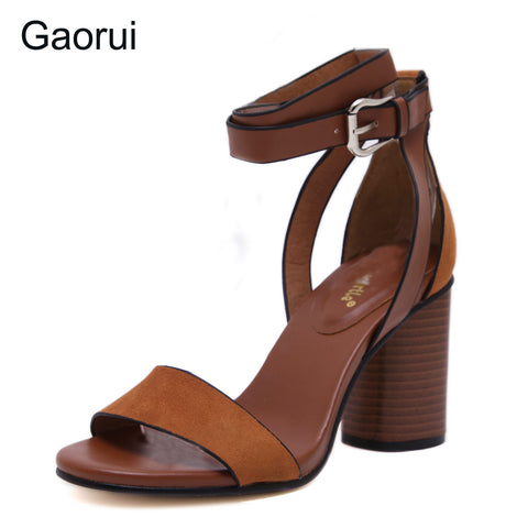 New Retro Women Sandals Flock Square Heels Buckle Strap Leisure Sexy Sandals Shoes Woman Ankle Strap Zapatos Mujer