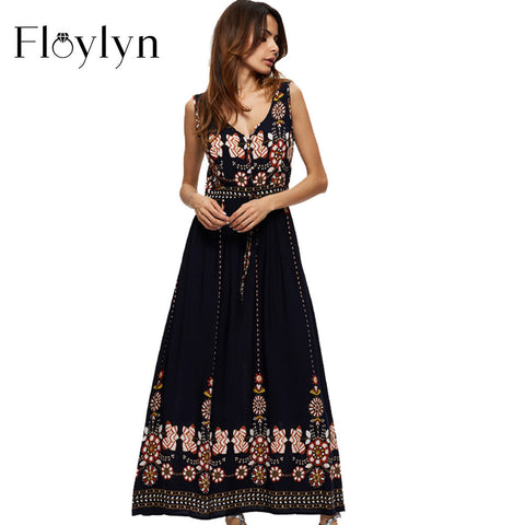 Floylyn Summer Women Maxi Dress Plus Size Party Vintage Sundress