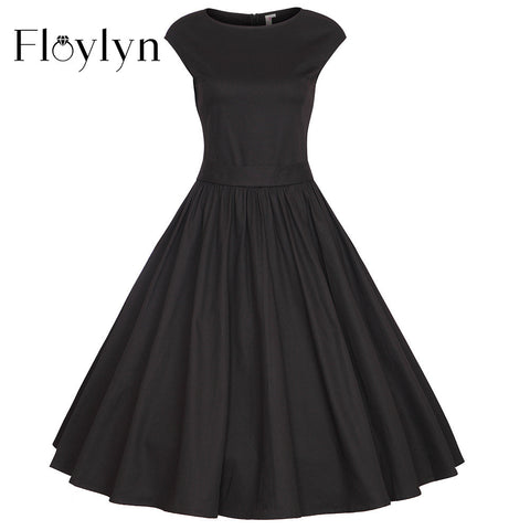 Floylyn Vestidos 4XL Plus Size Pleated Party Cocktail Vintage Dress