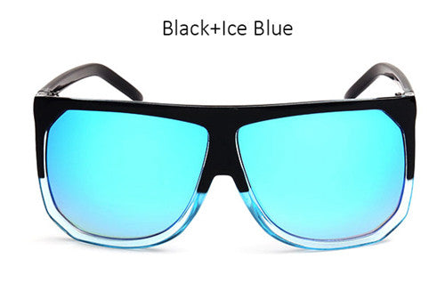 New Big Frame Flat Top Women Sunglasses Fashion Superstar Brand Designer Oversized Clear Gradient Sun Glasses Woman Shades