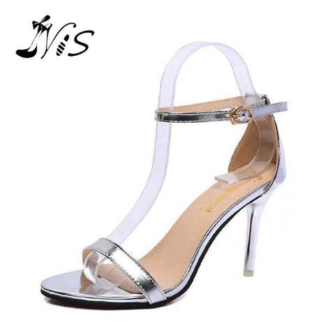 Female 9cm Thin High Heel with Peep Toe Shoes, Summer New Simple Sandals, Lady Ankle Strap Buckle Open Toe Sandals