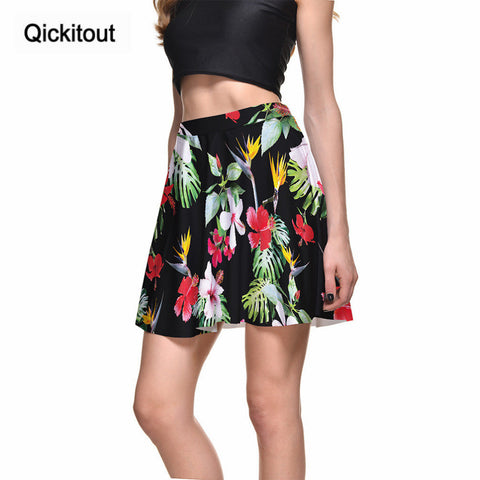 Qickitout Skirts New Style Fashion Colourful Flower 3D Digital Printing Black Skirts Plus Size  Drop shipping wholesales
