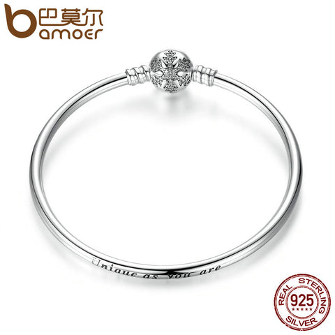 Authentic 925 Sterling Silver Engrave Snowflake Clasp Unique as you are Snake Chain Bracelet & Bangle DIY Jewelry