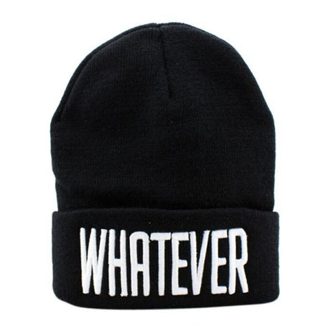 New Winter Black and White  Knitted Cap Female Skullies Beanies WHATEVER letter Hat And Snapback Men Women Cap drop Shipping #y