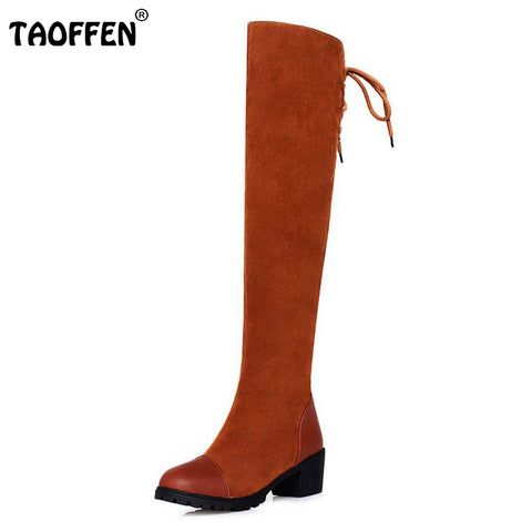 Shoes Women Boots Thigh High Boots Over The Knee Boots Platform Thick High Heels Boot Ladies Lace Up Shoes Size 34-39