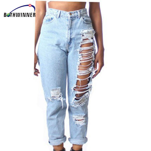 Bothwinner Plus Size Ripped Fading Jeans Women`s  Denim Skinny Distressed Jeans For Women Jean Pencil Pants
