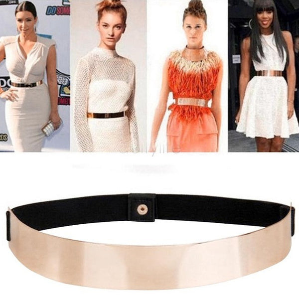 Fashion Brand Dress Belts For Women Female Cinturones Mujer Elastic Mirror Metal Waist Belt Woman Gold Sv10