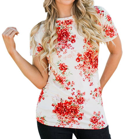 Fashion Women Floral Print T-shirt Casual Short Sleeve Top Summer Spring Plus Size white Shirt camiseta mujer
