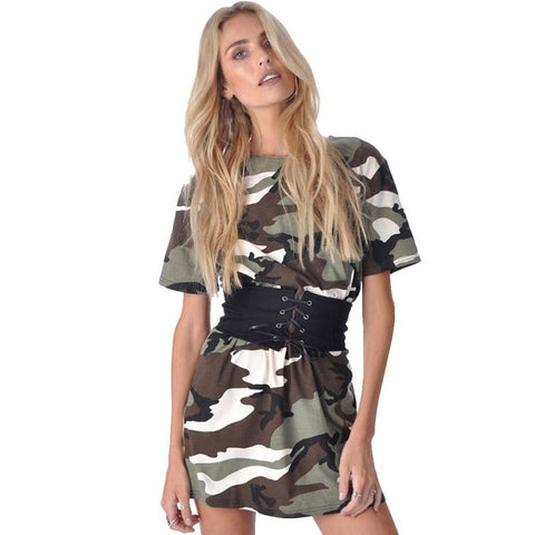 New Fashion Women Summer Dress Short Sleeve Camouflage Print Plus Size Woman Vestidos Party Short Mini Dress With Belt