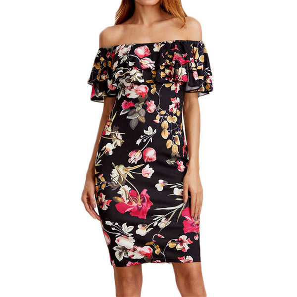 Sexy Off Shoulder Summer Dress Women  New Arrival Floral Printing Ruffles Bodycon Sheath Knee-Length Midi Dress vestidos